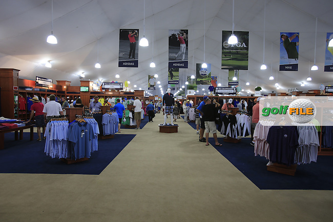 Merchandise tent during Thursday's Round 1 of the 95th US PGA Championship 2013 held at Oak Hills Country Club, Rochester, New York.<br /> 8th August 2013.<br /> Picture: Eoin Clarke www.golffile.ie