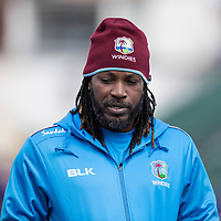 Chris Gayle (West Indies) during West Indies vs New Zealand, ICC World Cup Warm-Up Match Cricket at the Bristol County Ground on 28th May 2019