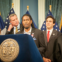 NY Councilmember Jumaane Williams speaks at a news conference in the Blue Room in NY City Hall on Friday, December 12, 2014.  (© Richard B. Levine)