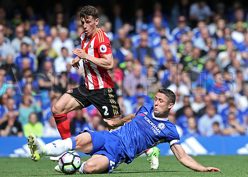 May 21st 2017, Stamford Bridge, Chelsea, London,  England;  EPL Premier league football, Chelsea FC versus Sunderland; Gary Cahill of Chelsea clears the ball from Billy Jones of Sunderland