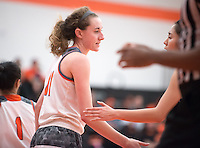 #11 Ciara Byrne. The Occidental College women's basketball team take on Chapman University in Rush Gym, Jan. 12, 2016.<br /> (Photo by Marc Campos, Occidental College Photographer)