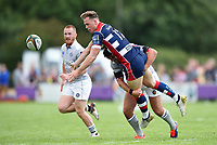 Matt Welsh of Bristol Rugby offloads the ball. Pre-season friendly match, between Bristol Rugby and Bath Rugby on August 12, 2017 at the Cribbs Causeway Ground in Bristol, England. Photo by: Patrick Khachfe / Onside Images