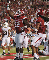 Arkansas Democrat-Gazette/BENJAMIN KRAIN --09/14/16--<br /> Arkansas runnningback Rawleigh Williams III celebrates after scoring a tounchdown in the second quarter during the Razorbacks 42-3 victory against Texas State.