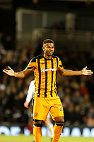 Fraizer Campbell of Hull City disagrees with the foul given against him during the Sky Bet Championship match between Fulham and Hull City at Craven Cottage, London, England on 13 September 2017. Photo by Carlton Myrie.