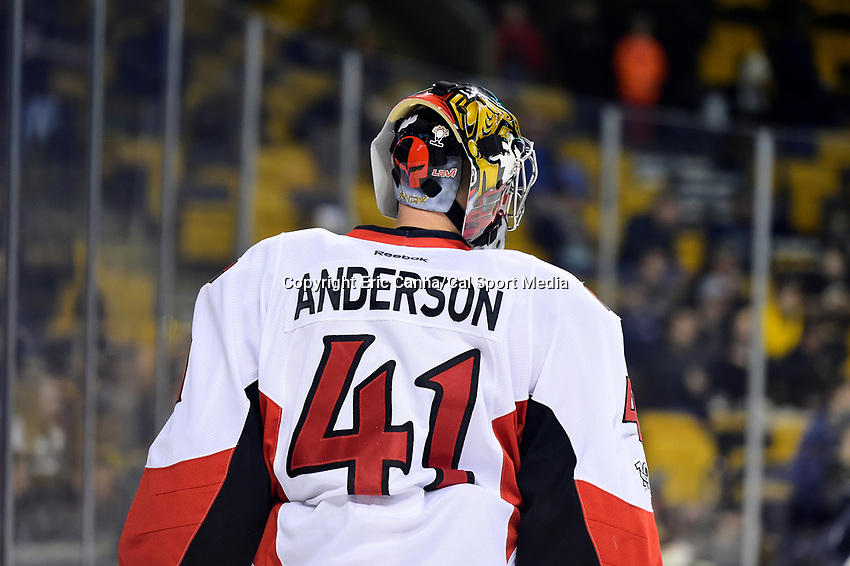 Thursday, April 6, 2017: Ottawa Senators goalie Craig Anderson (41) warms up prior to the National Hockey League game between the Ottawa Senators and the Boston Bruins held at TD Garden, in Boston, Mass. Ottawa defeats Boston 2-1 in a shootout. Eric Canha/CSM