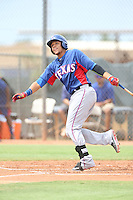 Jose Almonte (4) of the AZL Rangers bats during a game against the AZL Padres at the San Diego Padres Spring Training Complex on July 4, 2015 in Peoria, Arizona. Padres defeated the Rangers, 9-2. (Larry Goren/Four Seam Images)
