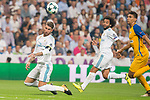 Real Madrid's Sergio Ramos and Marcelo during UEFA Champions League match between Real Madrid and Apoel at Santiago Bernabeu Stadium in Madrid, Spain September 13, 2017. (ALTERPHOTOS/Borja B.Hojas)