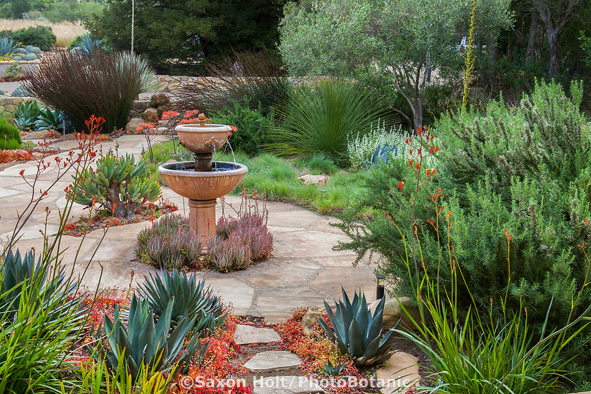 Fountain in entry courtyard to summer-dry garden Santa Barbara California