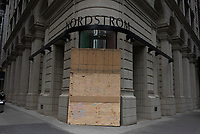 NEW YORK, NEW YORK - JUNE 2: A store is boarded up after a night of looting on stores due to protest on June 2, 2020 in New York City. Protests spread across the country in at least 30 cities across the United States, over the death of unarmed black man George Floyd at the hands of a police officer, this is the latest death in a series of police deaths of black Americans. New York face it's second night of a curfew (Photo by Joana Toro / VIEWpress via Getty Images)