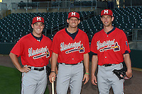 Mississippi Braves pitcher J.R. Graham (34), third baseman Kyle Kubitza (39) and pitcher Aaron Northcraft (28) pose for a photo before a game against the Montgomery Biscuits on April 21, 2014 at Riverwalk Stadium in Montgomery, Alabama.  Montgomery defeated Mississippi 6-2.  (Mike Janes/Four Seam Images)