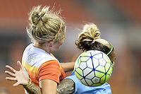 Houston, TX - Friday April 29, 2016: Ellie Brush (8) of the Houston Dash wins a header over Tasha Kai (32) of Sky Blue FC at BBVA Compass Stadium. The Houston Dash tied Sky Blue FC 0-0.