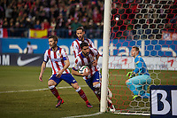 Atletico de Madrid´s Raul Garcia, Gabi and Mario Suarez and Barcelona´s Marc-Andre Ter Stegen during 2014-15 Spanish King Cup match between Atletico de Madrid and Barcelona at Vicente Calderon stadium in Madrid, Spain. January 28, 2015. (ALTERPHOTOS/Luis Fernandez) /nortephoto.com<br />