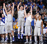 SIOUX FALLS, SD - MARCH 9: The South Dakota State bench celebrates in the second half of their semi-final round Summit League Championship Tournament game Monday afternoon at the Denny Sanford Premier Center in Sioux Falls, SD. (Photo by Dave Eggen/Inertia)