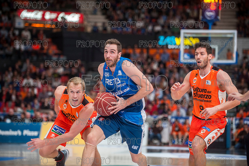 VALENCIA, SPAIN - NOVEMBER 22: Txemi Urtasun during Endesa League match between Valencia Basket Club and Retabet.es GBC at Fonteta Stadium on November 22, 2015 in Valencia, Spain