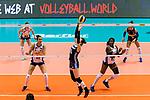 Xia Ding of China serves the ball during the FIVB Volleyball Nations League Hong Kong match between China and Italy on May 31, 2018 in Hong Kong, Hong Kong. Photo by Marcio Rodrigo Machado / Power Sport Images