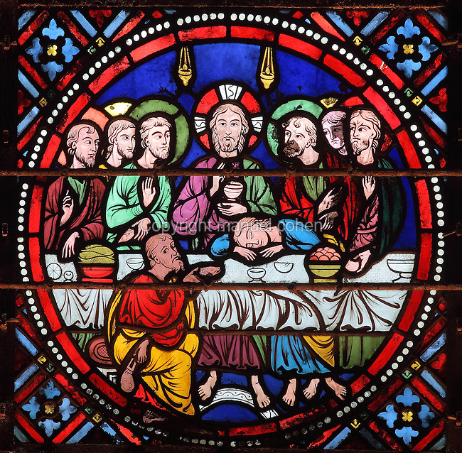 The Last Supper, stained glass window from Laon Cathedral or the Cathedrale Notre-Dame de Laon, built 12th and 13th centuries in Gothic style, in Laon, Aisne, Picardy, France. The cathedral is listed as a historic monument. Picture by Manuel Cohen