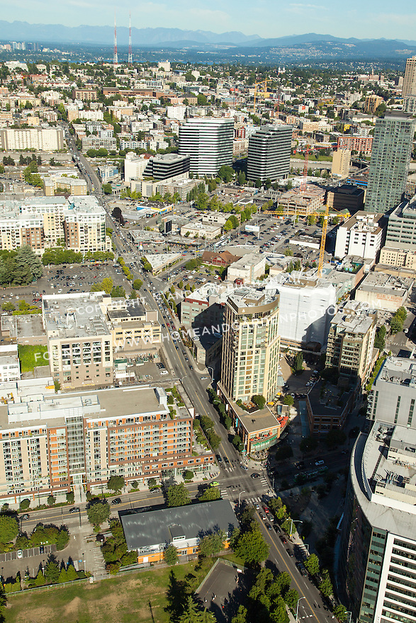 Denny Park, Vulcan Development's South Lake Union Discovery Center (orange building at lower center), Rollin Street Flats Apartments (lower left), and 2201 Westlake Bldg. (lower right) at Denny Way and Westlake Ave. in Seattle's South Lake Union neighborhood