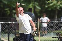 NWA Democrat-Gazette/J.T. WAMPLER Sunday Sept. 6, 2015 at the Walker Park Horsehoe pits during the Arkansas Horseshoe Pitching Association's State Tournament.