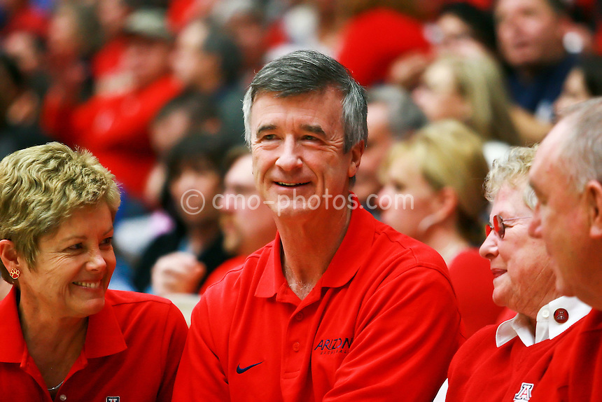 Jan 10, 2009; Tucson, AZ, USA; The president of the University of Arizona sits courtside to watch a game between the Oregon State Beavers and the Arizona Wildcats at the McKale Center.  The Wildcats won the game 64-47.