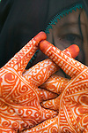 Henna dye tattoos on a womans hands, Morocco.