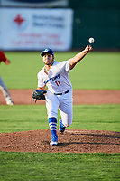 Jairo Pacheco (11) of the Ogden Raptors delivers a pitch to the plate against the Orem Owlz in Pioneer League action at Lindquist Field on June 21, 2017 in Ogden, Utah. The Owlz defeated the Raptors 16-5. This was Opening Night at home for the Raptors.  (Stephen Smith/Four Seam Images)