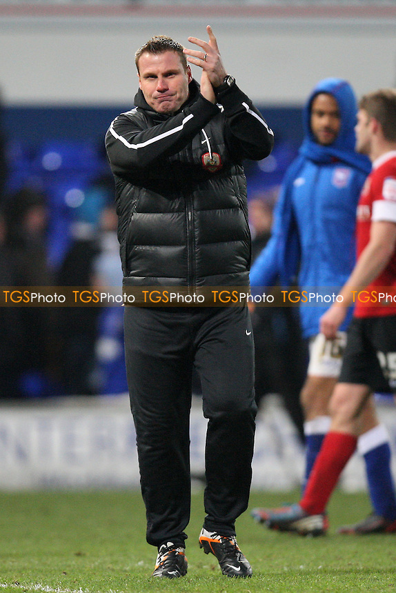 Barnsley manager David Flitcroft thanks the travelling fans at the end of the game - Ipswich Town vs Barnsley - NPower Championship Football at Portman Road, Ipswich, Suffolk - 19/01/13 - MANDATORY CREDIT: Gavin Ellis/TGSPHOTO - Self billing applies where appropriate - 0845 094 6026 - contact@tgsphoto.co.uk - NO UNPAID USE.