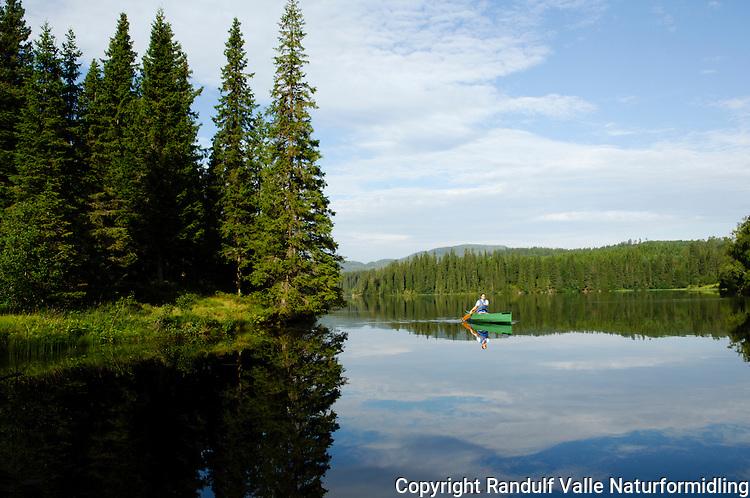 Jente padler kano i Store Leirsjøen i Trondheim ---- Girl canoeing on a lake a summer day