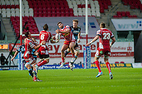 Saturday 10 May 2014<br /> Pictured: Kirby Myhill ( Centre - white boots ) <br /> Re: Scarlets v Blues Rabo Direct Pro 12 Rugby Union Match at Parc y Scarlets, Llanelli, Wales