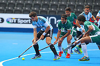 Argentina's Joaquin Menini at the edge of the Pakistan D during the Hockey World League Quarter-Final match between Argentina and Pakistan at the Olympic Park, London, England on 22 June 2017. Photo by Steve McCarthy.