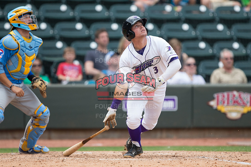 Jake Peter (3) of the Winston-Salem Dash follows through on his swing against the Myrtle Beach Pelicans at BB&T Ballpark on May 10, 2015 in Winston-Salem, North Carolina.  The Pelicans defeated the Dash 4-3.  (Brian Westerholt/Four Seam Images)