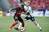 9th February 2019, Spotless Stadium, Sydney, Australia; A League football, Western Sydney Wanderers versus Central Coast Mariners; Andrew Hoole of the Central Coast Mariners    closely marks Roly Bonevacia of the Western Sydney Wanderers