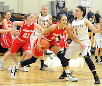 Souderton's Alana Cardona (11) grabs a rebound as Central Bucks West's Alex Burkauskas (2) defends in the first quarter at Central Bucks West Friday December 18, 2015 in Doylestown, Pennsylvania. (Photo by William Thomas Cain)