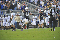 06 October 2012:  Penn State LB Michael Mauti (42) celebrates at the end of the game. The Penn State Nittany Lions defeated the Northwestern Wildcats 39-28 at Beaver Stadium in State College, PA.