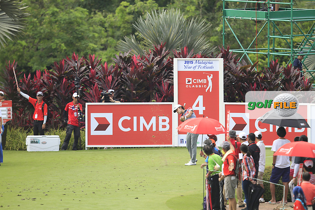 Kevin Na (USA) on the 4th tee during Round 4 of the CIMB Classic in the Kuala Lumpur Golf &amp; Country Club on Sunday 2nd November 2014.<br /> Picture:  Thos Caffrey / www.golffile.ie