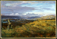 "FRAMED Canvas Print: Mullholland Overlook by Hal Yaskulka, , 30"" x 40"" Dark Wood Bevel Frame, Gold Liner matches 1425_055"