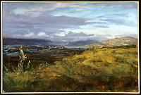 "FRAMED Canvas Print: Mullholland Overlook by Hal Yaskulka, , 30"" x 40"" Dark Wood Bevel Frame, Gold Liner matches 1425_055"
