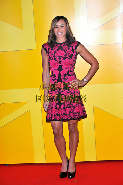 Jessica Ennis  .Attends the UK Athletics Dinner.Royal Courts of Justice, Strand, London, England, UK, 20th October 2012..full length dress hand on hip dress  black pink patterned print shoes patent .CAP/CJ.©Chris Joseph/Capital Pictures.
