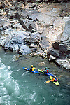 Kayakers eddying out at Yankee Jim's on the north fork of the American River