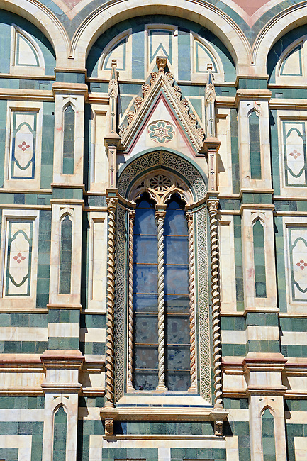 Gothic windows and architectural detail  of  the  of the Gothic-Renaissance Duomo of Florence,  Basilica of Saint Mary of the Flower; Firenza ( Basilica di Santa Maria del Fiore ).  Built between 1293 & 1436. Italy