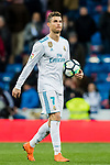 Cristiano Ronaldo of Real Madrid takes the ball at the end of the La Liga 2017-18 match between Real Madrid and Girona FC at Estadio Santiago Bernabéu  on March 18 2018 in Madrid, Spain. Photo by Diego Souto / Power Sport Images
