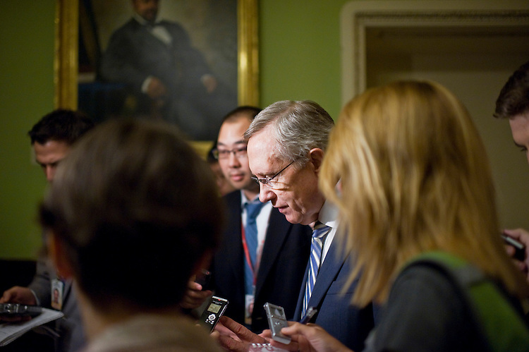 UNITED STATES - JULY 27:  Senate Majority Leader Harry Reid, D-Nev., is questioned by reporters after a news conference in the Capitol criticizing the deficit reduction plan of Speaker John Boehner, R-Ohio.  (Photo By Tom Williams/Roll Call)