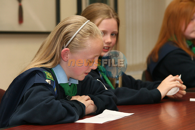 Girl Guides acting as councillors for their voting badge.  Each had a chance to ask Mayor O'Dowd a question...Photo NEWSFILE/Jenny Matthews.(Photo credit should read Jenny Matthews/NEWSFILE)....This Picture has been sent you under the condtions enclosed by:.Newsfile Ltd..The Studio,.Millmount Abbey,.Drogheda,.Co Meath..Ireland..Tel: +353(0)41-9871240.Fax: +353(0)41-9871260.GSM: +353(0)86-2500958.email: pictures@newsfile.ie.www.newsfile.ie.FTP: 193.120.102.198.