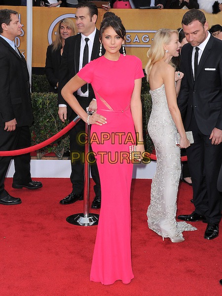 Nina Dobrev.Arrivals at the 19th Annual Screen Actors Guild Awards at the Shrine Auditorium in Los Angeles, California, USA..27th January 2013.SAG SAGs full length dress pink hand on hip.CAP/DVS.©DVS/Capital Pictures.