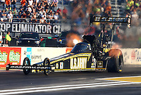 Sep 27, 2013; Madison, IL, USA; NHRA top fuel dragster driver Tony Schumacher during qualifying for the Midwest Nationals at Gateway Motorsports Park. Mandatory Credit: Mark J. Rebilas-