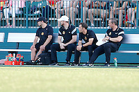 Rochester, NY - Friday June 17, 2016: Western New York Flash coaching and support staff during a regular season National Women's Soccer League (NWSL) match between the Western New York Flash and the Portland Thorns FC at Rochester Rhinos Stadium.