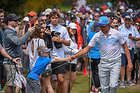 Rickie Fowler (USA) fist bumps a young fan enroute to the tee on 11 during day 3 of the Valero Texas Open, at the TPC San Antonio Oaks Course, San Antonio, Texas, USA. 4/6/2019.<br /> Picture: Golffile | Ken Murray<br /> <br /> <br /> All photo usage must carry mandatory copyright credit (© Golffile | Ken Murray)