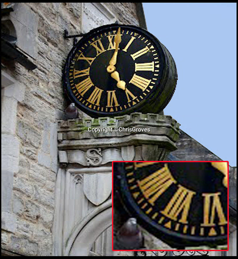 BNPS.co.uk (01202)558833<br /> Pic: ChrisGroves/BNPS<br /> <br /> Before - 6 minutes between 7 and 8 markers.<br /> <br /> Hang on a minute...Town clock has been running 61 minute hours for 70 years.<br /> <br /> Officials have altered an historic clock after noticing it had displayed an erroneous extra minute on its face for decades.<br /> <br /> The 19th century clock in Dorchester, Dorset, had 61 rather 60 minutes - with an extra digit added between the 7th and 8th hour.<br /> <br /> It is not known if this was done by mistake or as a joke when the clock was made about 200 years ago.<br /> <br /> Incredibly, nobody appears to have spotted the mistake over the course of time.