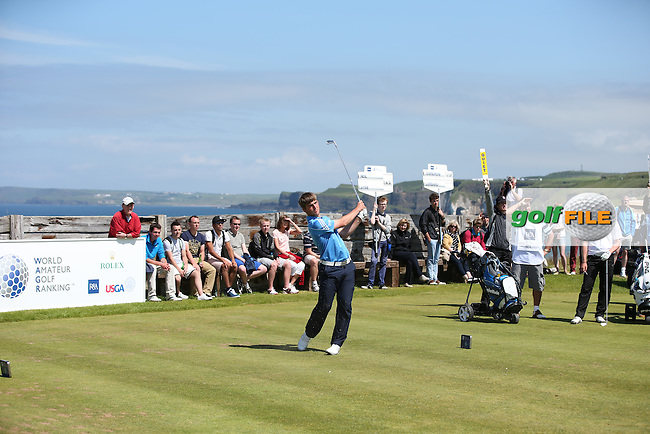 On the 6th tee Bradley Neil (Blairgowrie) during the Semi-Finals at The Amateur Championship 2014 from Royal Portrush Golf Club, Portrush, Northern Ireland. Picture:  David Lloyd / www.golffile.ie