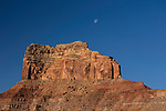The moon over Assembly Hall Peak in the Mexican Mountain Wilderness Study Area on the San Rafael Swell in Utah.