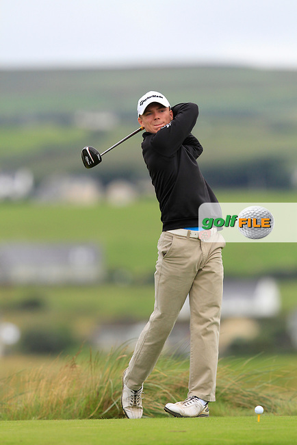 Marc Boucher (Carton House) on the 2nd tee during Round 1 of The South of Ireland in Lahinch Golf Club on Saturday 26th July 2014.<br /> Picture:  Thos Caffrey / www.golffile.ie
